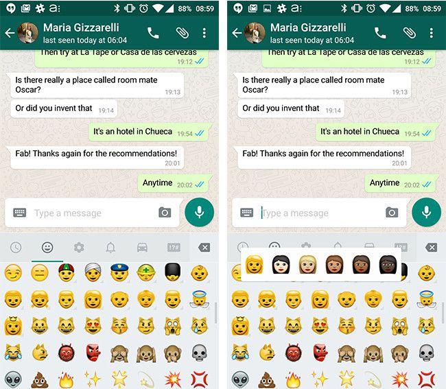 Nuevos emojis de colores llegan a WhatsApp para Android