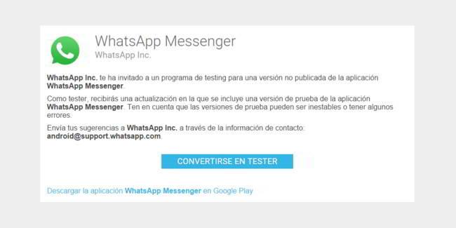WhatsApp Beta ya disponible en Google Play