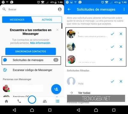 Como ver los mensajes filtrados en Facebook Messenger