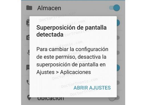 "Solución al error de ""Superposición de pantalla detectada"" en Android"
