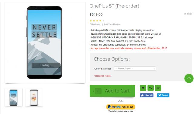 nuevo OnePlus 5T
