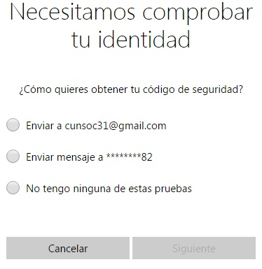 opciones para recuperar acceso a cuenta de Hotmail
