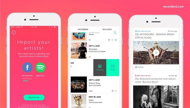 Record Bird: recibe notificaciones de canciones nuevas de tus artistas favoritos