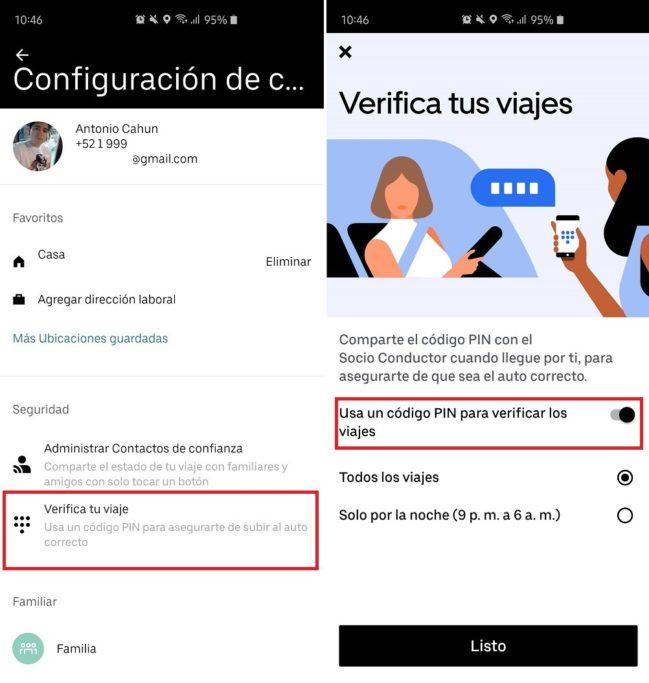 verificar viajes por código PIN de Uber