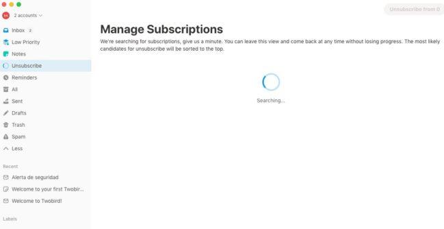 Twobird: cliente de correo gratuito con un estilo minimalista