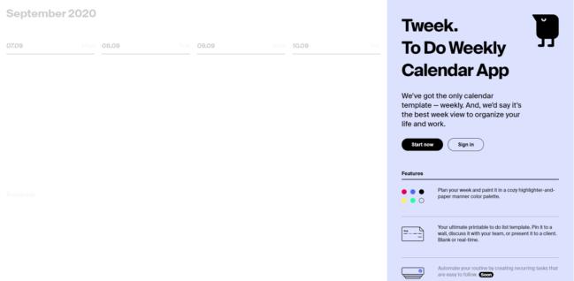 Tweek: organiza tu agenda online semanalmente