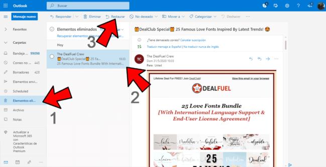 ▶Cómo recuperar correos eliminados de Outlook