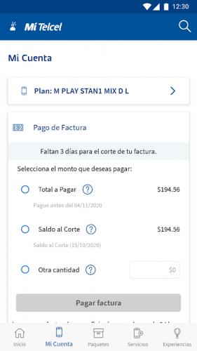 Pagar Plan Telcel en la app