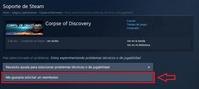 Devolver un juego en Steam