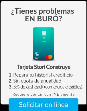 Tarjeta de crédito Stori sin anualidad y con 5% de bonificación
