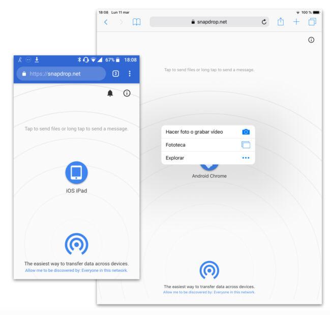 🥇Snapdrop: comparte archivos entre dispositivos sin instalar nada