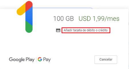 Cómo comprar almacenamiento en Google Drive